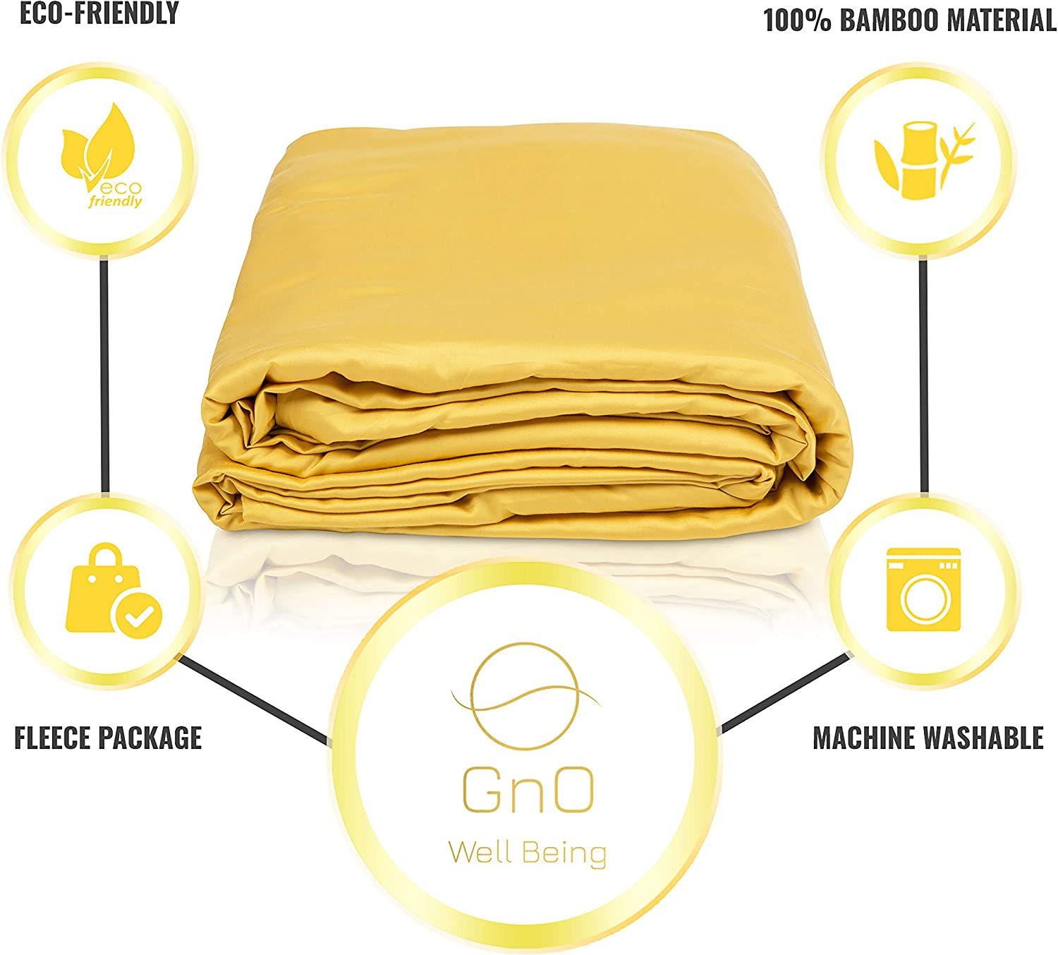 | Made of Luxury Soft Cool Bamboo Fabric 48 x 72 GnO Cooling Bamboo Weighted Blanket Cover Gold Machine Washable Premium Comforter Sheet with 12 Ribbon Ties and Zipper Full Size