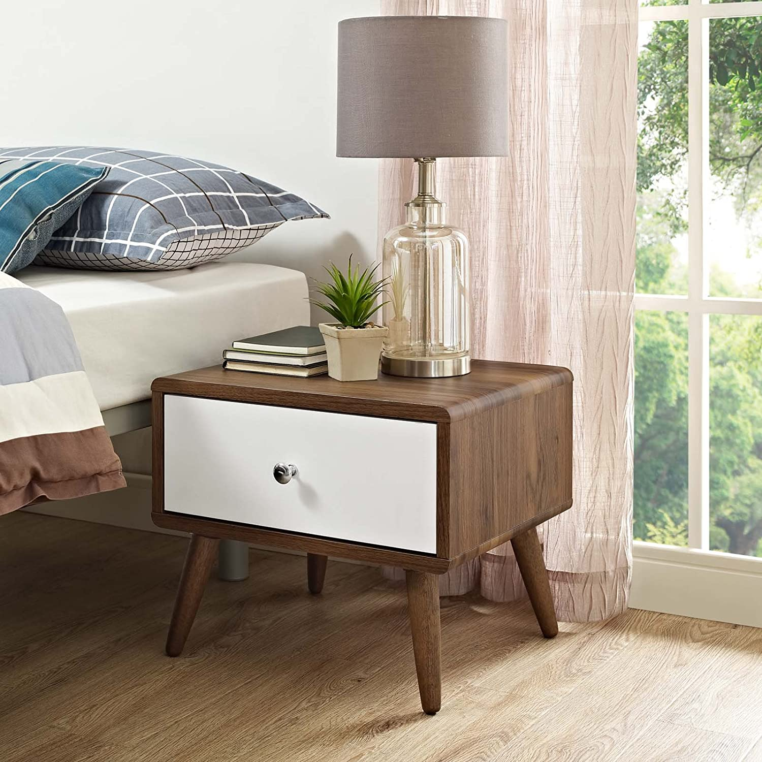 Modway Transmit, Nightstand, Walnut White