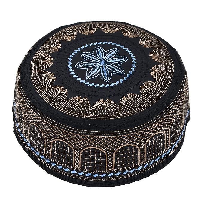 dc9d14d5a6b Hongma Islamic Muslim Hat Skull Cap Kufi Hat Turkish Skull Cap Prayer Namaz  Beanie Embroidery Hat for Men  Amazon.co.uk  Clothing