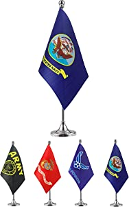 GentleGirl.USA US Navy Table Flag Stick Small Mini United States Military Polyester Flag Office Table Flag on Stand Base,for Army Party Events Celebration Decorations Supplies