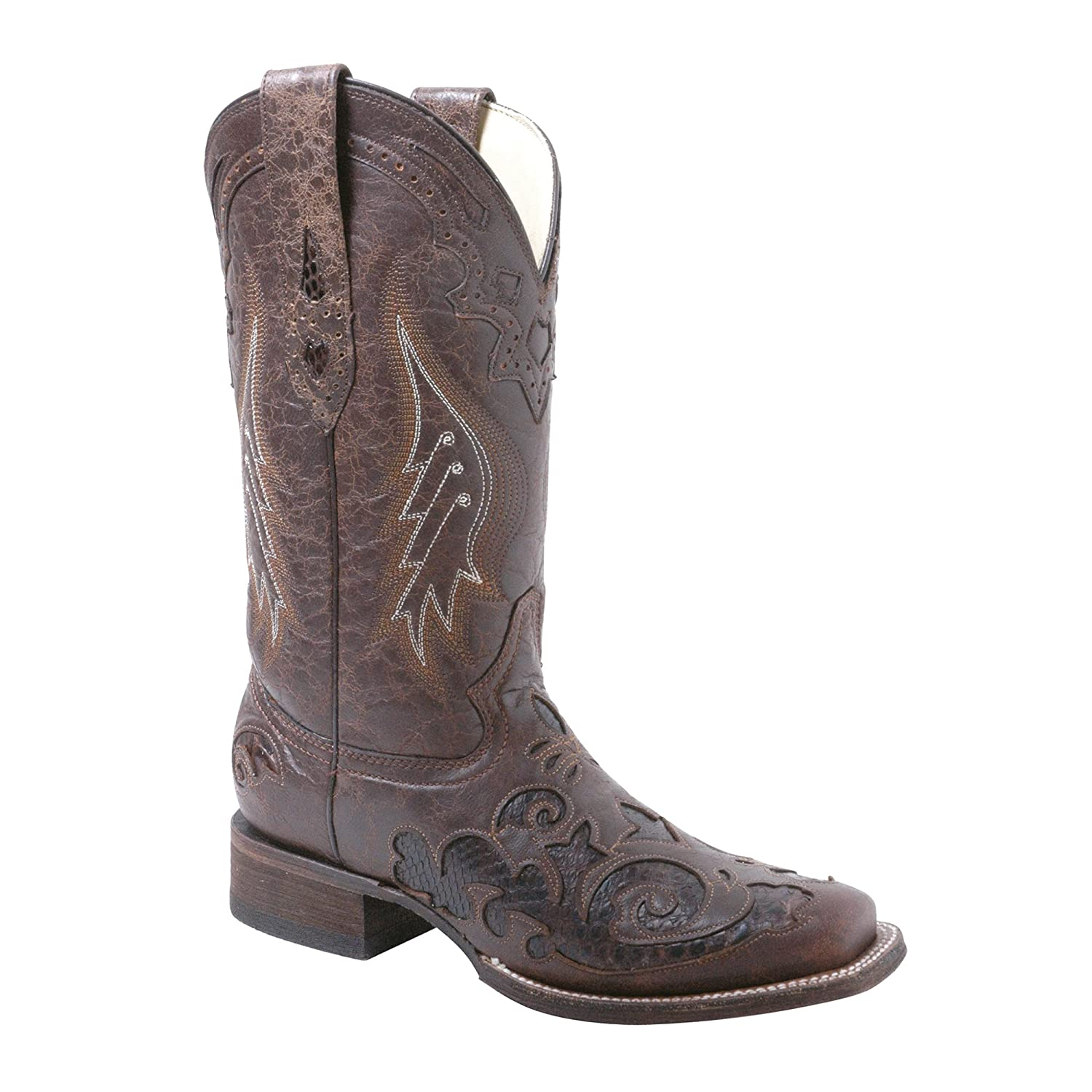 Corral Women's A2404 Snake Cowboy Inlay Brown Fashion Western Cowboy Snake Boots B00534NF3M 9.5 B(M) US|Brown 003677