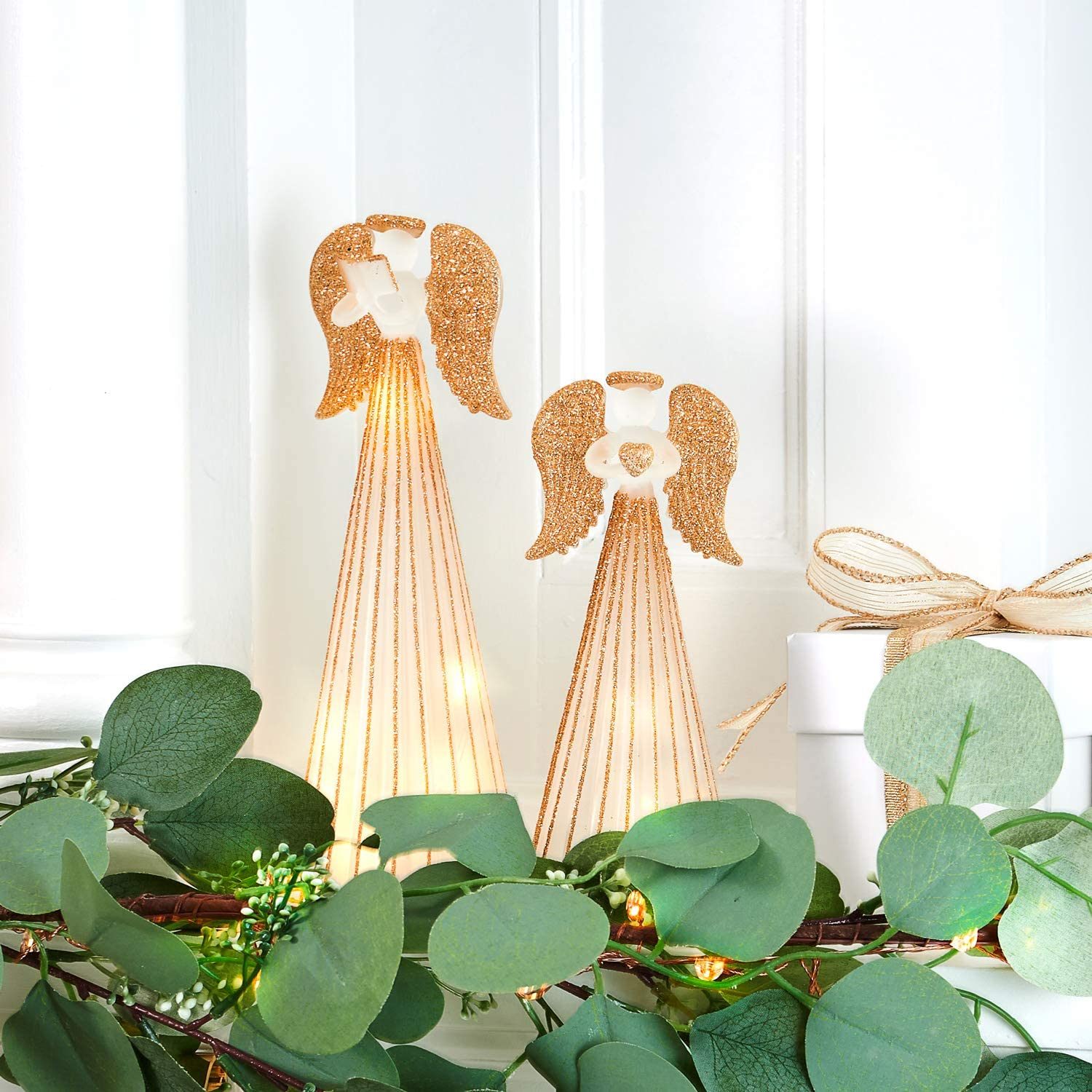 Christmas Angel Figurines with Lights - Set of 2 Statues, Frosted Glass & Gold Glitter, 6 Inch & 8 Inch Tall, LED Fairy Lights Inside, Batteries Included, Holiday Table Centerpiece Mantle Decorations