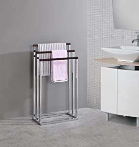 Kings Brand Furniture - Chrome Metal/Walnut Wood Freestanding Towel Rack Stand
