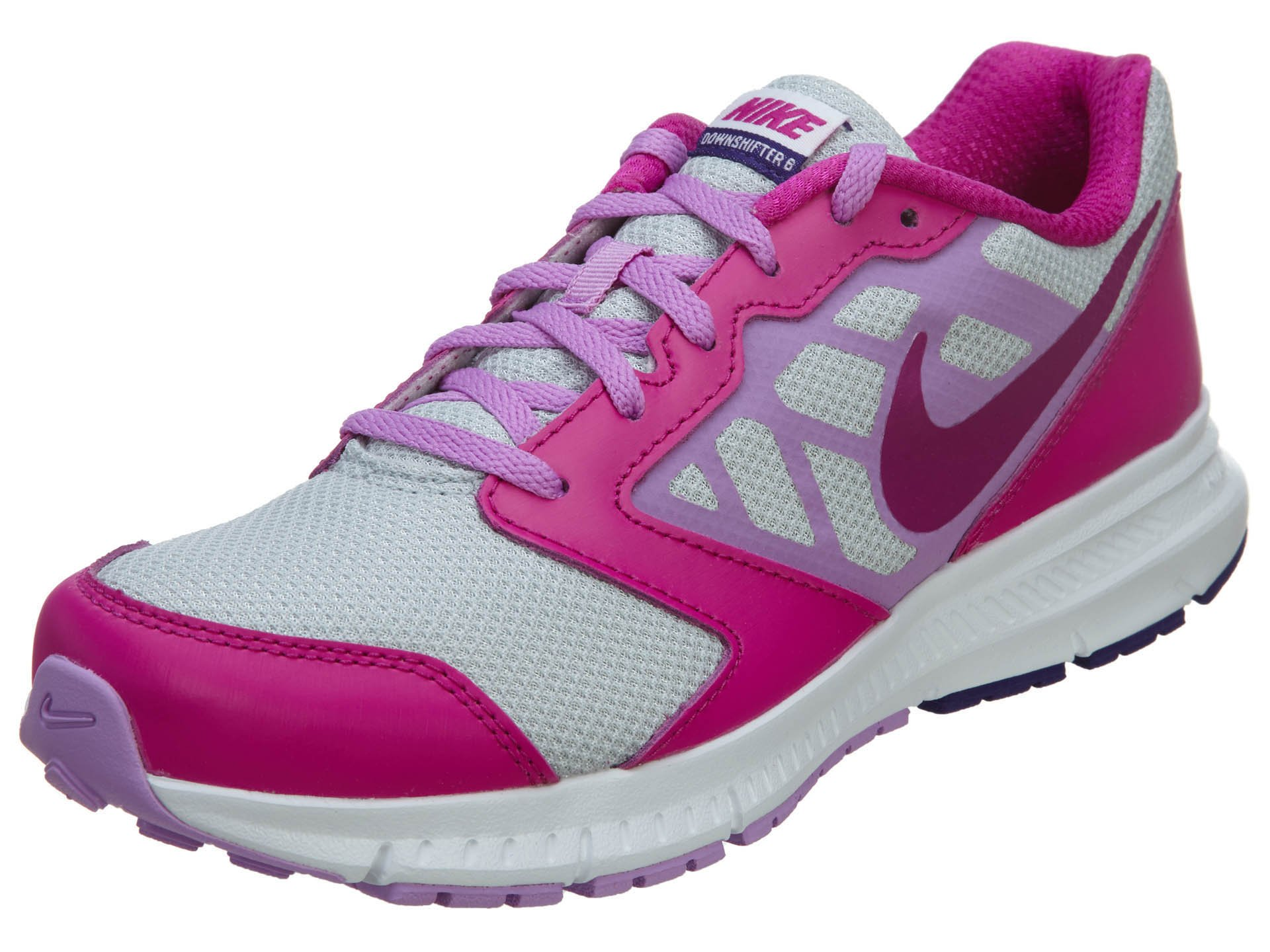 NIKE Kids' Downshifter 6 (GS/PS) Running Shoes, Pure Platinum/Fuchsia Glow/Fuchsia Flash, 5 M US Little Kid