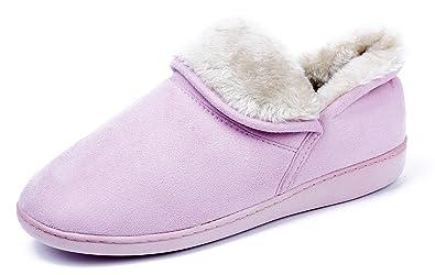 AgeeMi Shoes Damen Rund Zehe Weicher Flache Hausschuhe Hoch Qualitäts Pantoffeln,EuT06 Pink XS(36/37)