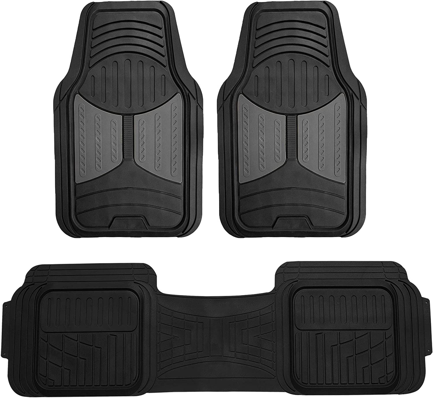 FH Group F11513 Trimmable Heavy Duty Rubber Floor Mats (Gray) Full Set - Universal Fit for Cars Trucks and SUVs