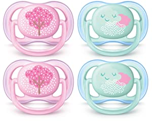 Philips AVENT Ultra Air Pacifier 0-6 Months, Pink Fashion Decos, 4 Pack, SCF343/40