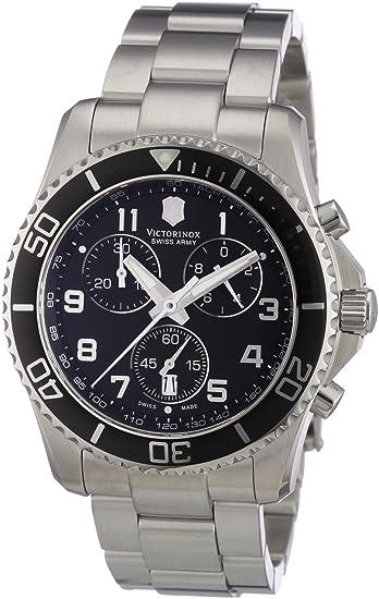 Victorinox Classic 241432 - Reloj cronógrafo de cuarzo para hombre, correa de acero inoxidable color