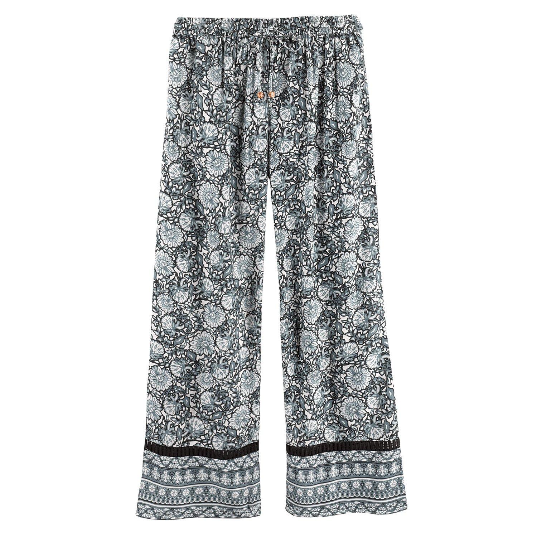 CATALOG CLASSICS Women's Leaves & Flowers Lounge Pants -Pajama Bottoms Black & White