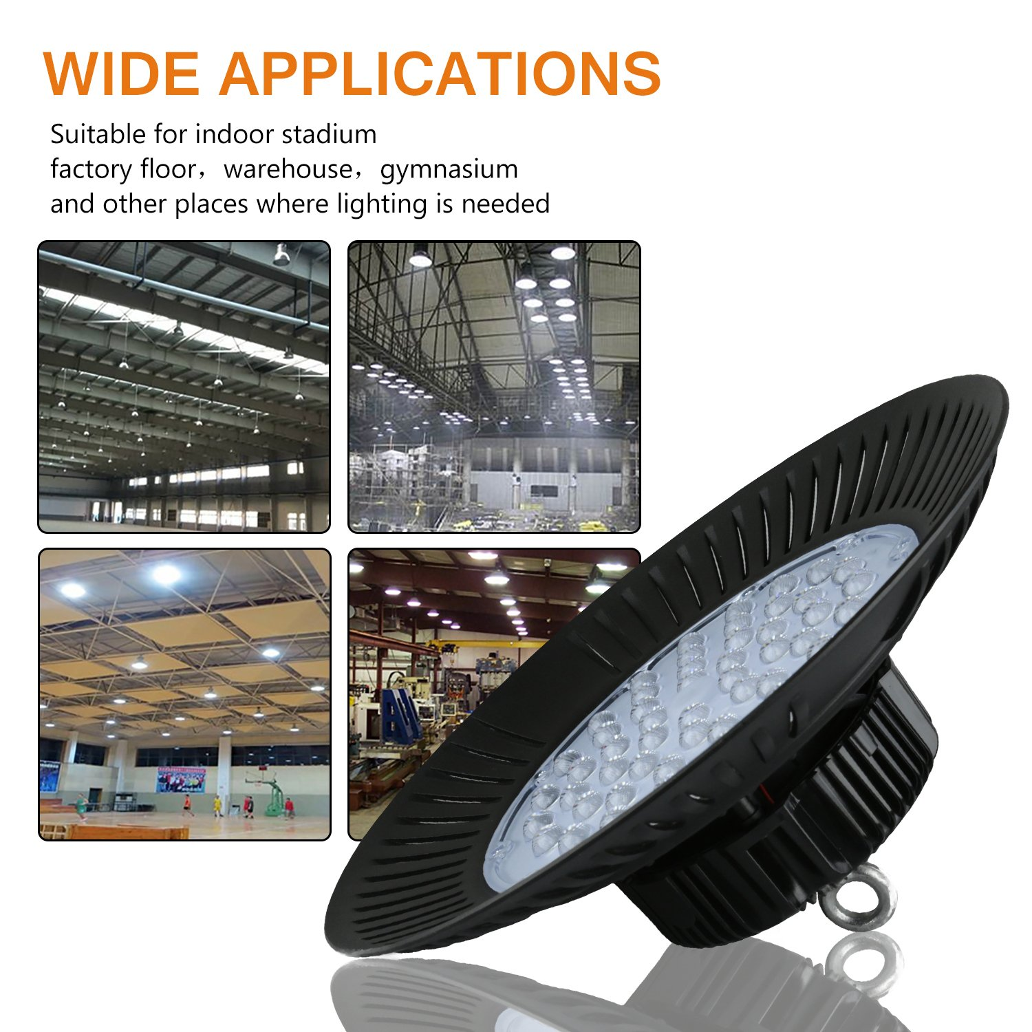 UFO High Bay Light 400W HID//HPS Equivalent Replacement Ceiling Light Fixture Motent SMD 2835 120 LEDs 5000K Daylight White Industrial//Commercial Chandelier AC100-265V 11000lm 100W Factory Lamp