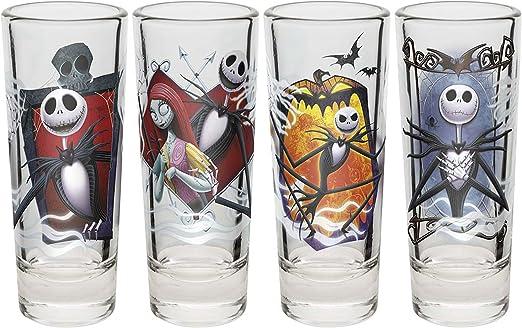 Zak. Designs pesadilla antes de Navidad Jack y Sally 2 oz vasos de chupito (Juego de 4): Amazon.es: Hogar