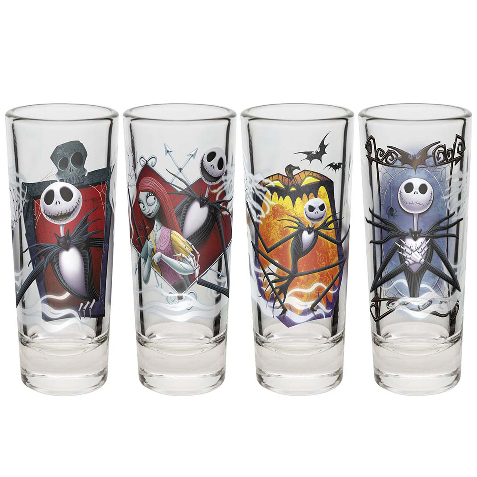Zak Designs Nightmare Before Christmas Jack and Sally 2 Ounce Shot Glasses (Set of 4)