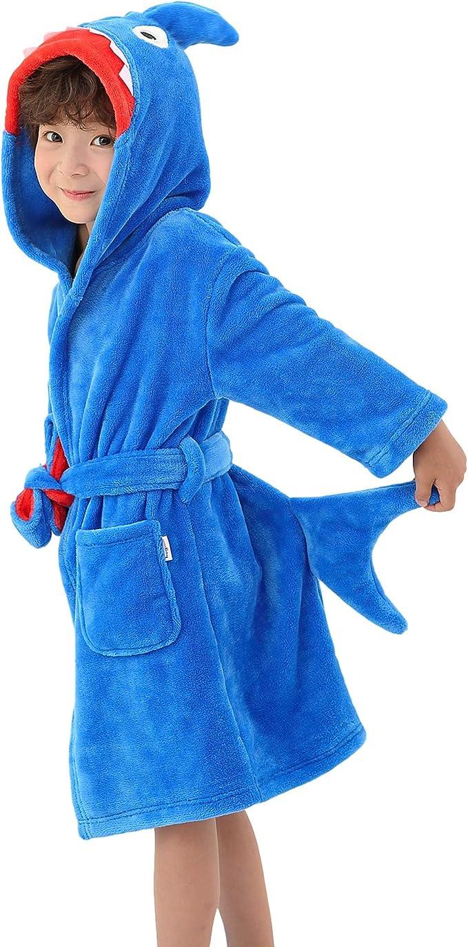Kids Bathrobe Unicorn Robe Hooded Nightgown Flannel Sleepwear Cute Loungewear