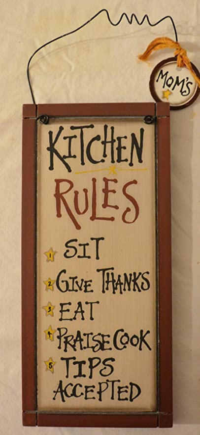 Amazon Com Rustic Country Wood Plaque Sign Decoration With A Metal Wire For Hanging 5 1 2 X 12 X 3 4 Inches Wooden Sign Saying Kitchen Rules 1 Sit 2 Give Thanks 3 Eat