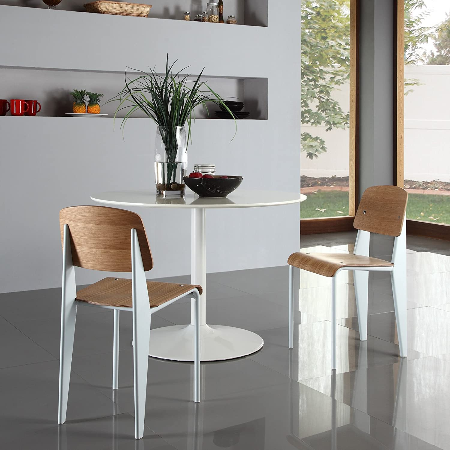 Amazon.com: Modway Jean Prouve Style Standard Chair In White: Kitchen U0026  Dining