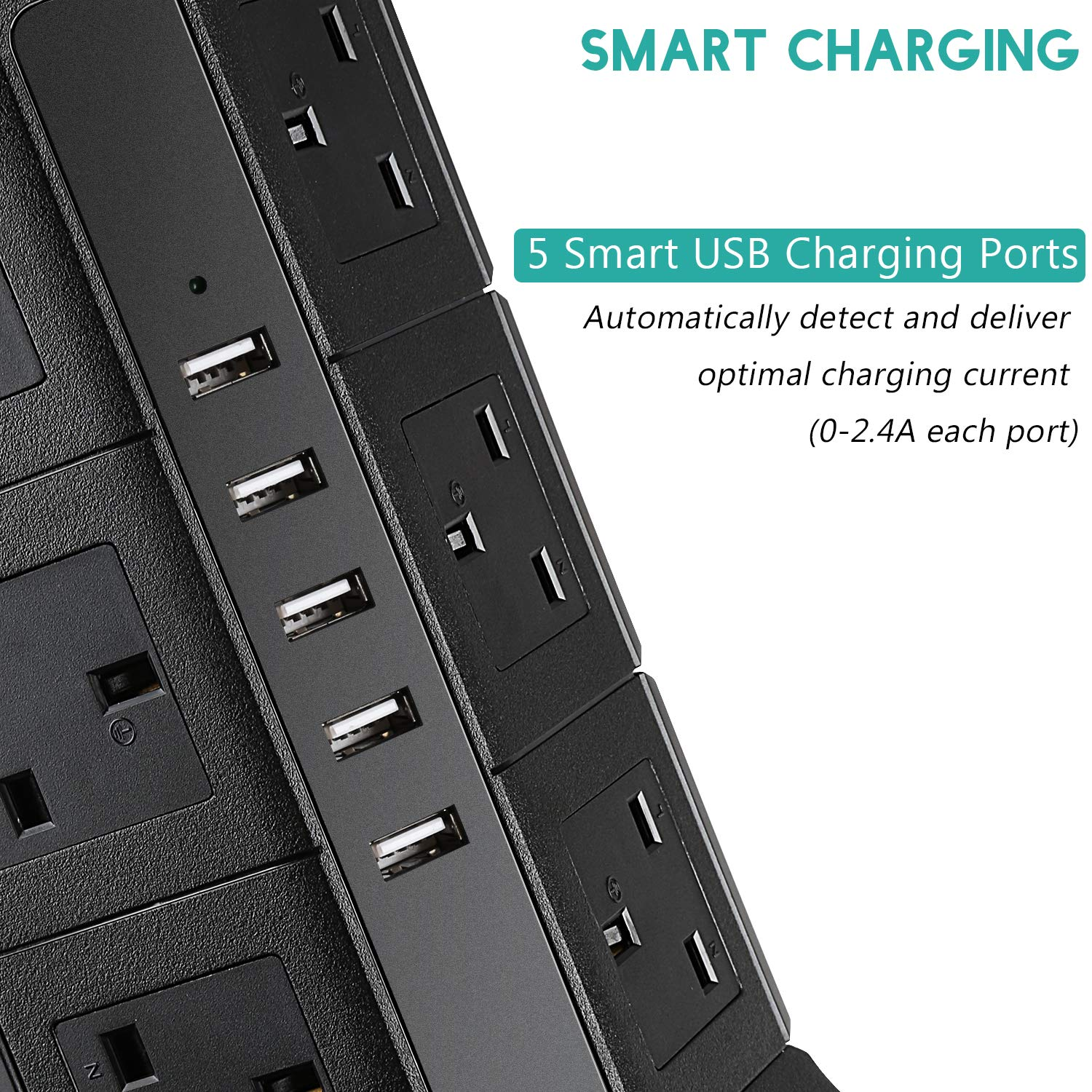 Extension Lead PRITEK 12 Outlets Extension Socket 10A//2500W 1000J Surge Protector Tower Power Strip with 6.5ft Extension Cord 5V//4.5A Smart USB Charging Ports Suit for Cellphone Tablet and more