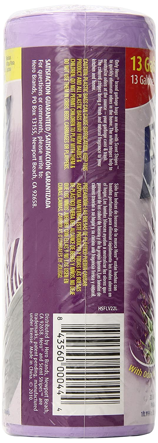 Amazon.com: HERO Scent Stripes Trash Bags, Lavender, 22 Count (Pack ...