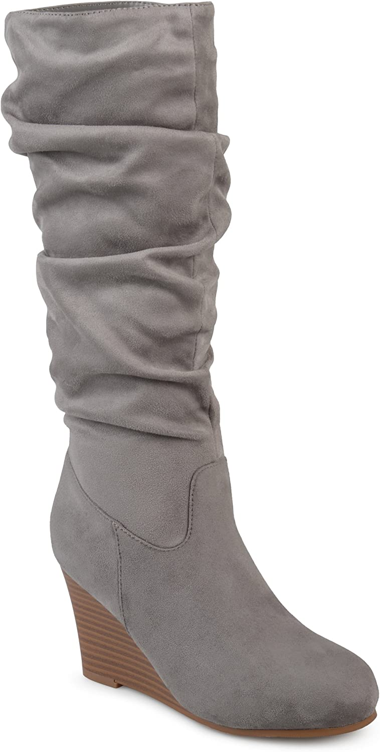 Journee Collection Womens Regular and Wide Calf Slouchy Mid-Calf Wedge Boots