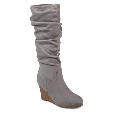 aa533242c01b Journee Collection Womens Regular and Wide Calf Slouchy Mid-Calf Wedge Boots  Grey