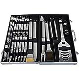Roseflower® 24 pezzi Posate professionali da barbecue in acciaio INOX con valigetta in alluminio - professionali Griglia per BBQ Kit Accessori