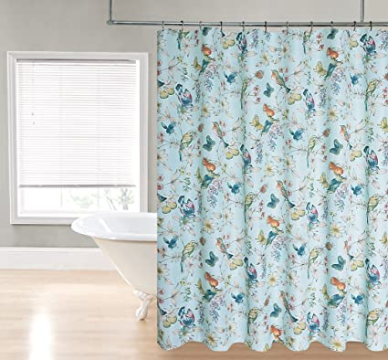 Regal Home Collections Botanical Bird Print Fabric Shower Curtain 70 By 72 Inch