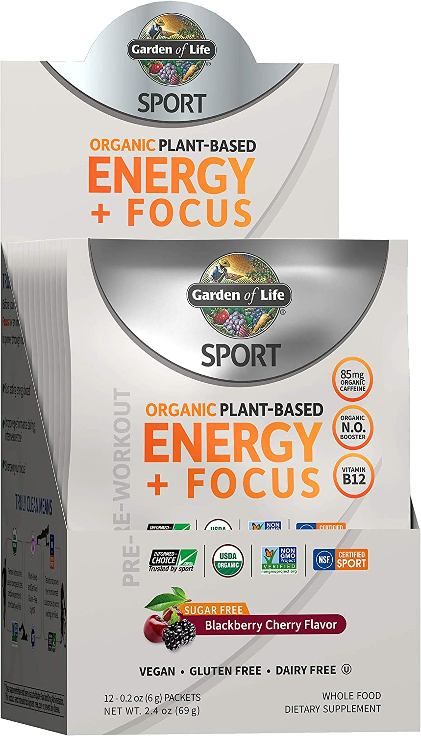 Garden of Life SPORT Organic Plant-Based Energy + Focus Vegan Pre Workout Powder Packets (12ct), Sugar Free Blackberry Cherry Clean Preworkout, 85mg Caffeine Natural NO Booster - Packaging May Vary