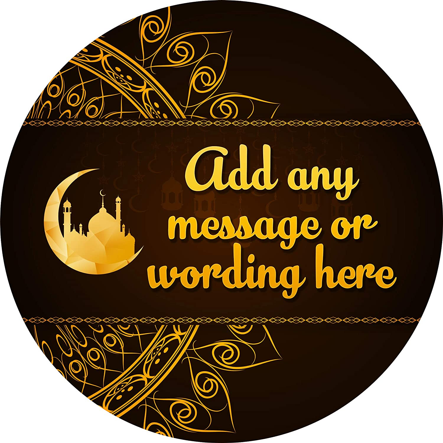 6 Stickers, 9.5cm Each Eid Al-Fitr Gold Sticker Labels Personalised Custom Seals Ideal for Party Bags Sweet Cones Favours Jars Presentations Gift Boxes Bottles Crafts