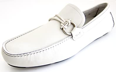 a6c78df3bcf Salvatore Ferragamo Front Mens Off White Leather Loafers Shoes Made in  Italy (10.5 D(