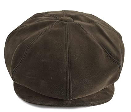 e28adc708c516 GFM Brown 8 Panel Baker Boy Cap hat in faux leather  Amazon.co.uk  Clothing