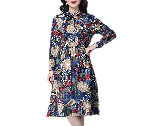 FDFAF Fashion cotton linen vintage print women casual loose autumn dress party vestidos femininos dresses Blue