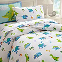 Wildkin Kids 100% Cotton Twin Duvet Cover for Boys and Girls, Features Button Closure and Four Interior Corner Ties, Duvet Covers Measures 88 x 68 Inches, BPA-free, Olive Kids (Dinosaur Land)