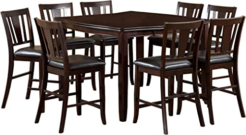 Furniture of America Anlow 7-Piece Counter Height Table Set with 16-Inch Leaf, Espresso Finish