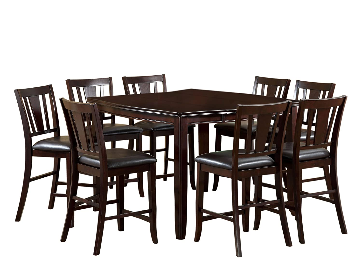amazon com furniture of america anlow 7 piece counter height amazon com furniture of america anlow 7 piece counter height table set with 16 inch leaf espresso finish kitchen dining