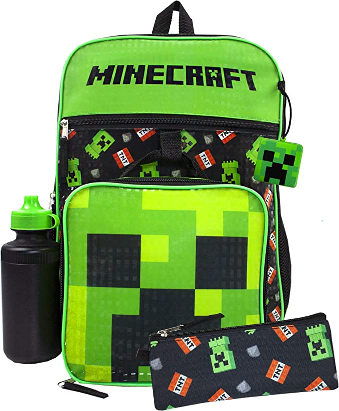 Minecraft Creeper TNT 5 Piece Backpack Set | Lunch Box, Pencil Case, Bottle, Squishy & Backpack: Amazon.es: Equipaje