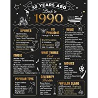FALAMON 30th Birthday Anniversary Decorations Party Supplies Gifts for Women or Men, 11x14 Birthday Poster (Unframed), Back in 1990