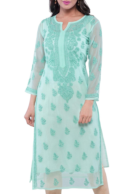 Buy ADA Handmade Lucknowi Chikankari Faux Georgette Kurti Kurta Regular  Wear A130756 Sea Green at Amazon.in