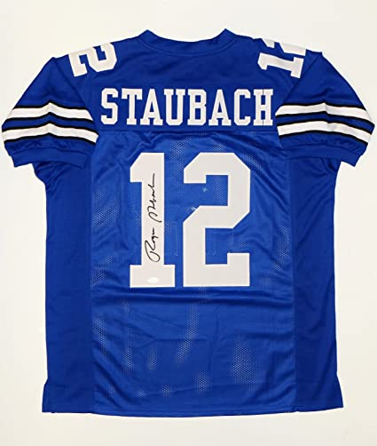 249d5fa0b Image Unavailable. Image not available for. Color: Roger Staubach  Autographed Blue Pro Style Jersey- JSA W Auth