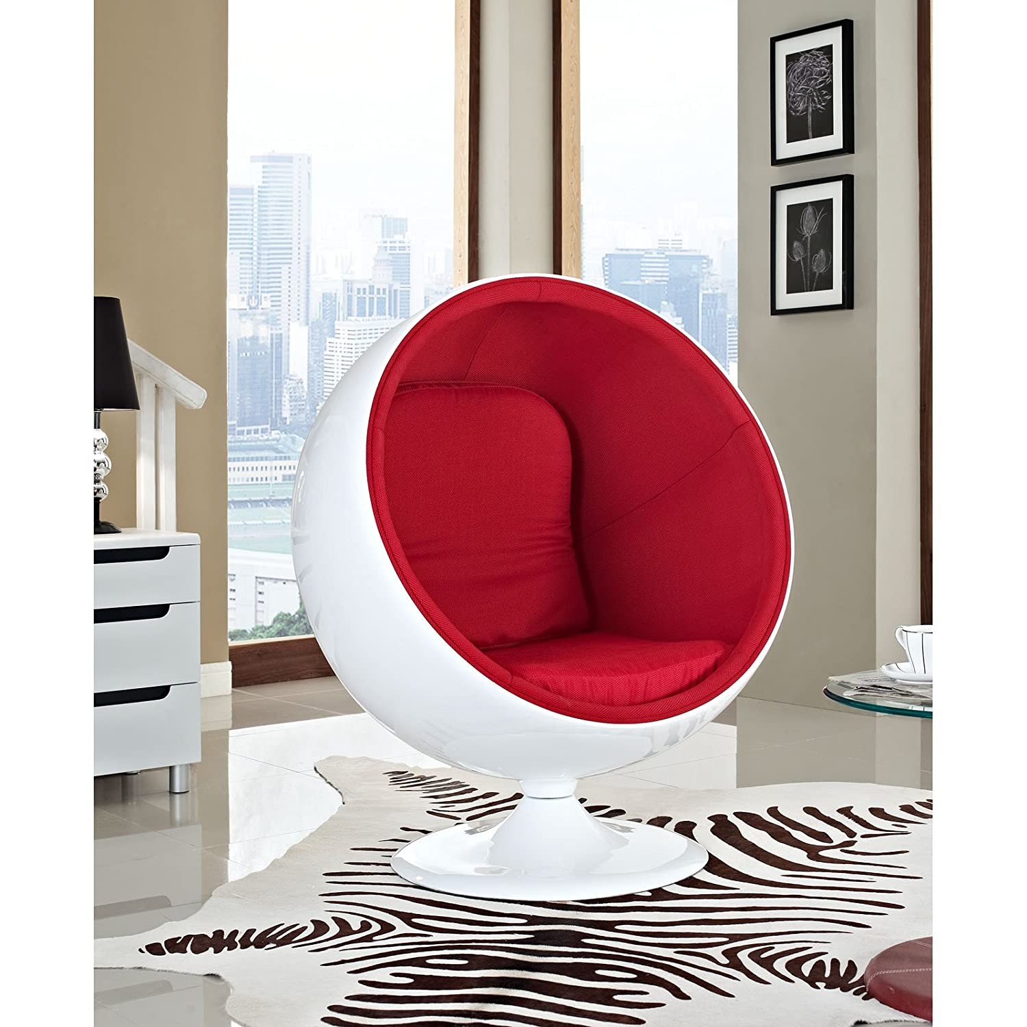 Amazon Modway Eero Aarnio Style Ball Chair in Red Kitchen