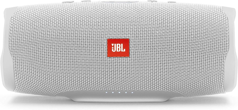 JBL Charge 4 – Altavoz inalámbrico portátil con Bluetooth, parlante resistente al agua (IPX7), JBL Connect+, hasta 20 h de reproducción con sonido de alta fidelidad, blanco
