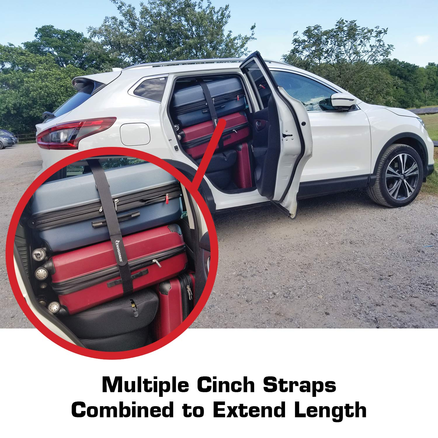 Premium Cinch Straps with Stainless Steel Metal Ring 2 x 60 Multipurpose Securing Straps 4 Pack Multipurpose Securing Straps 4 Pack Buckle 2 x 60 Envisioned Products Inc. Reusable Durable Hook and Loop