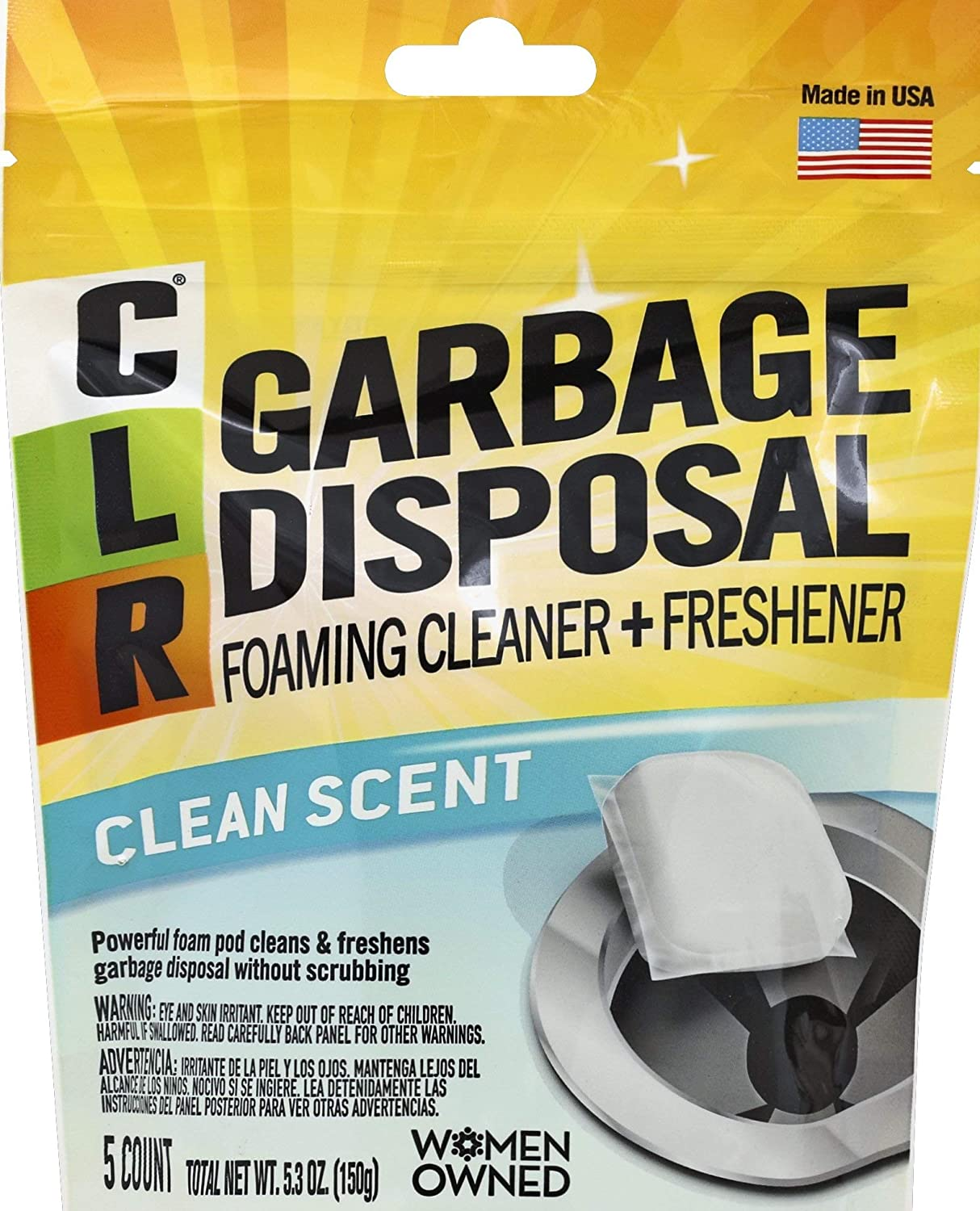 CLR Garbage Disposal Cleaner, 5 Pods