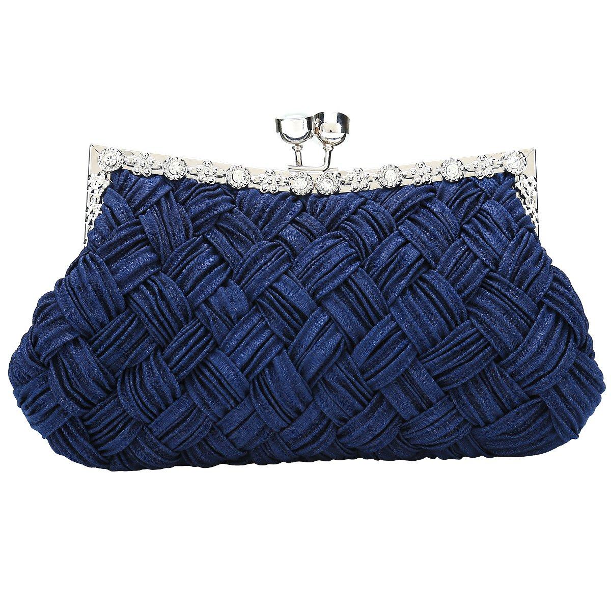 Charming Tailor Evening Bag Women Classic Clutch Woven Wedding Party Purse (Navy Blue)