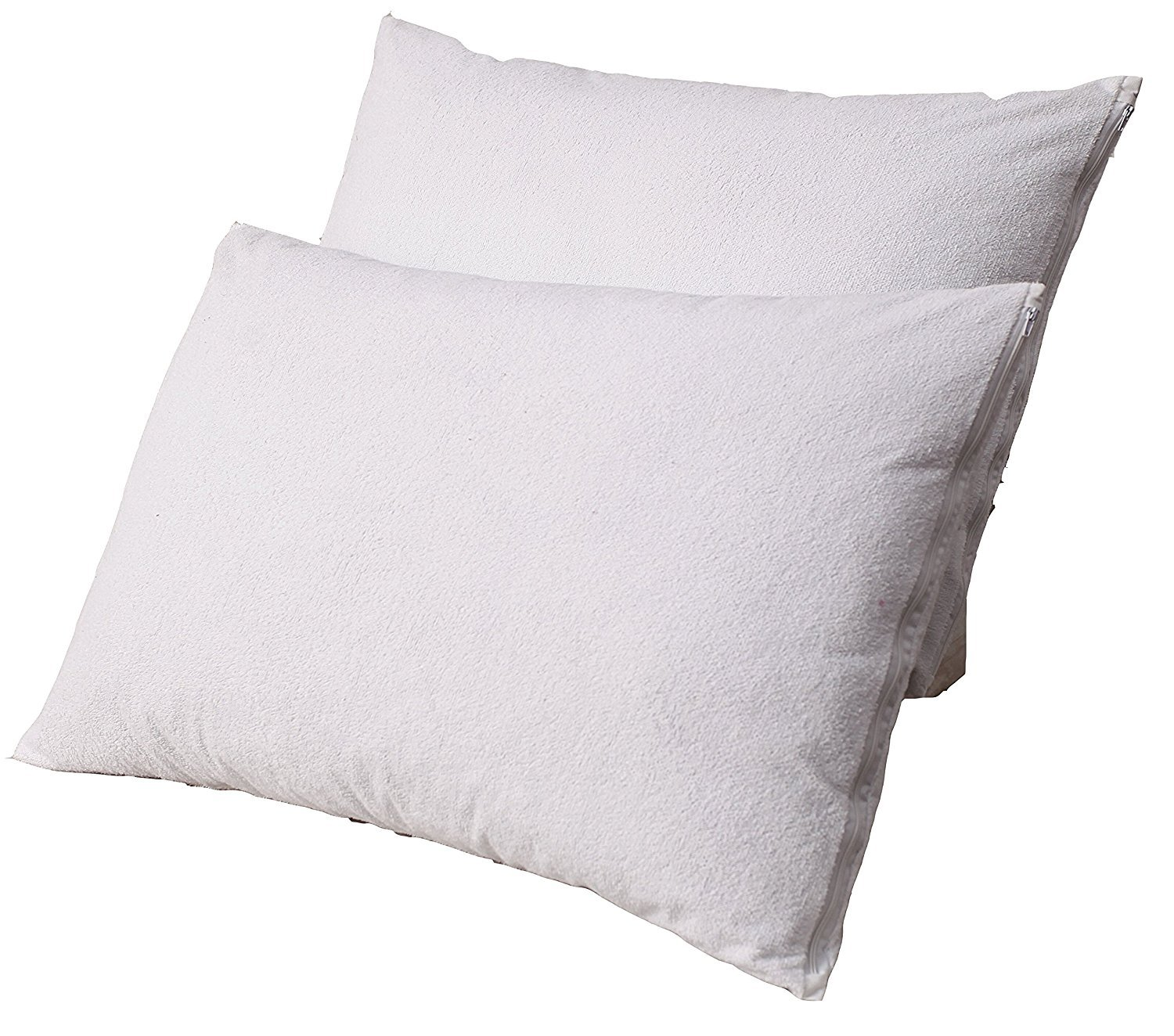 Trance Home Linen Set of 2 Standard Pillow Protectors - 100% Waterproof, Bed Bug Proof, Hypoallergenic - Premium Zippered Cotton Terry Cover (WHITE) by