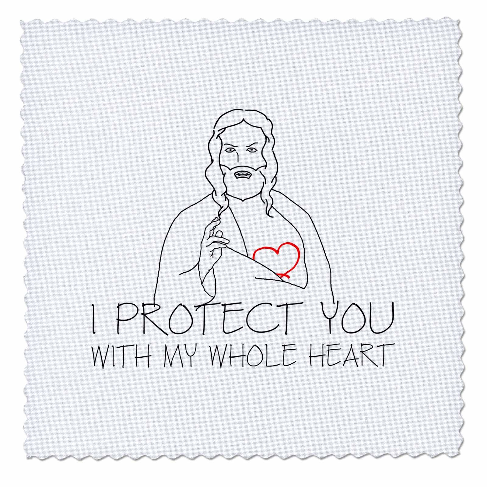 3dRose Alexis Design - Christian - Jesus Christ. I protect you with my whole heart. Black on white - 22x22 inch quilt square (qs_271959_9) by 3dRose