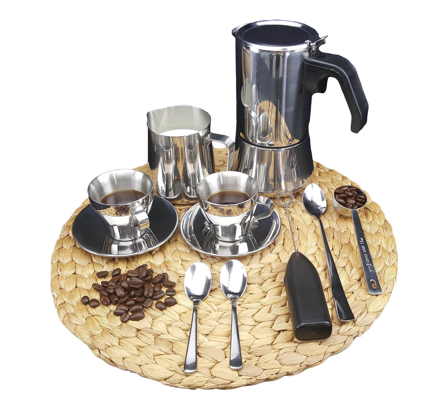 IKEA Metal Espresso Moka Pot Gift Set: Espresso Pot, Milk Frothing Pitcher, Handheld Milk Frother, Measuring Spoon [Bundle] by Signature Home Kitchen