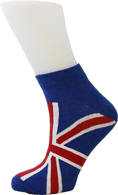 Men/'s Trainer Socks Union Jack British Flag Design  Cotton Rich Sports Socks