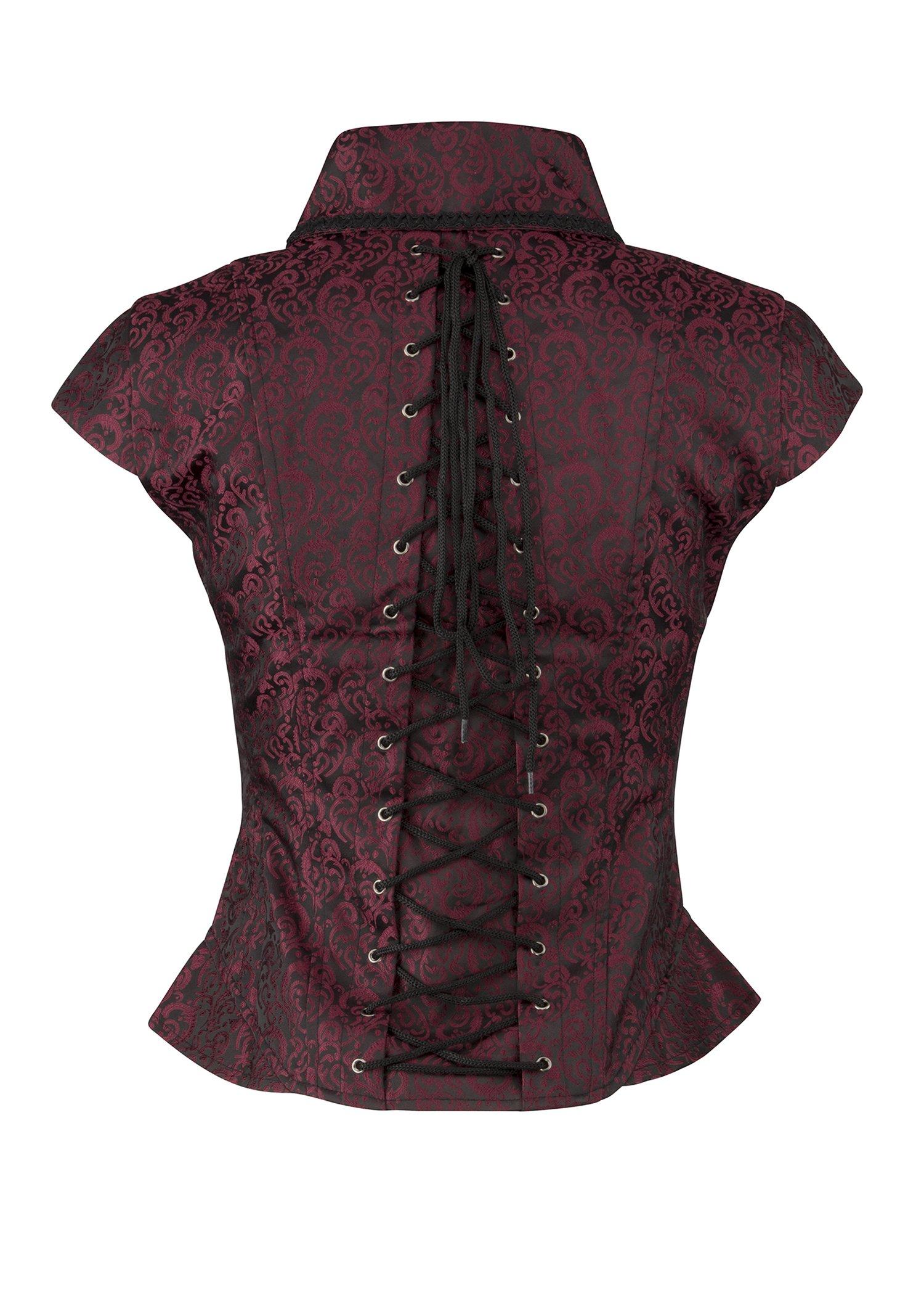 Pretty Attitude Womens Black and Red Brocade Goth Steampunk Vest Short Sleeve Jacket 4