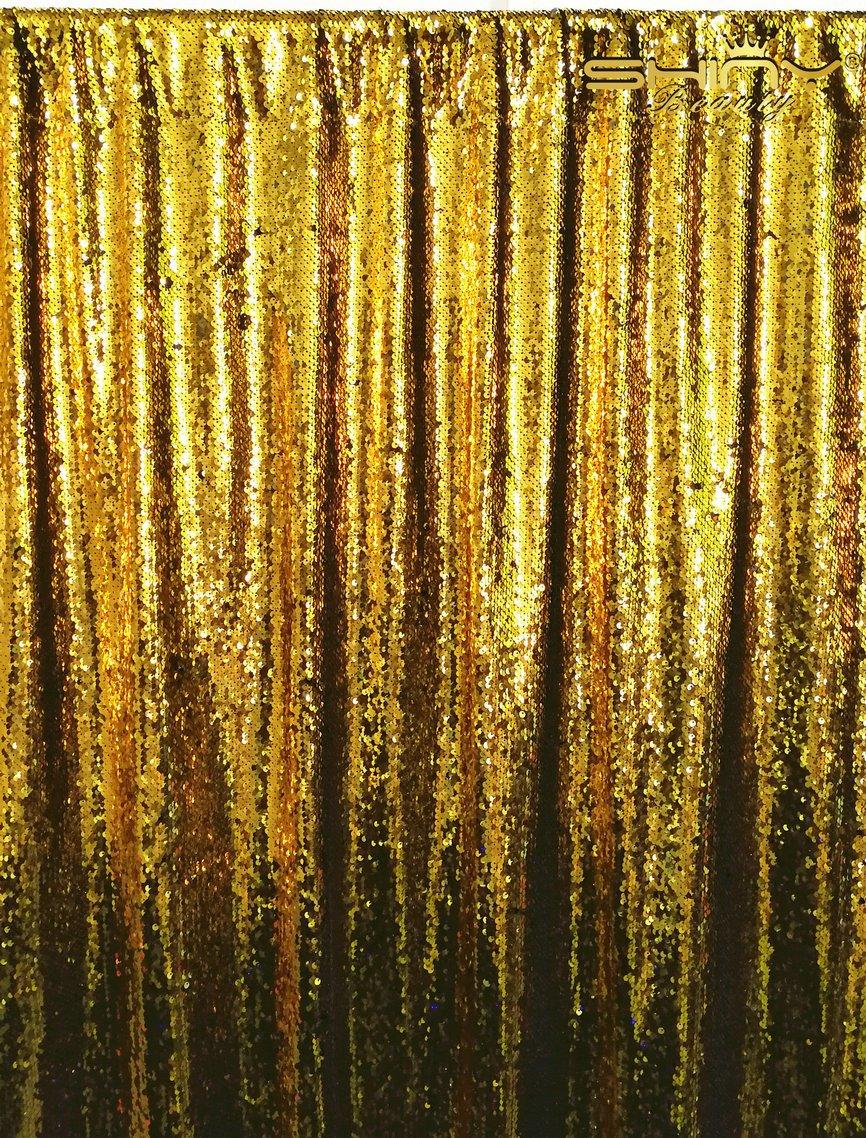 ShinyBeauty 8 ftx8ft-mermaid-green & black-sequinカーテン背景、リバーシブルスパンコールFabirc写真背景幕の写真/イベント/プロム/ウェディング/パーティー/誕生日 8FTx8FT Mermaid Sequin Backdrop 8x8 8.14  Gold & Black B074SF2J2P