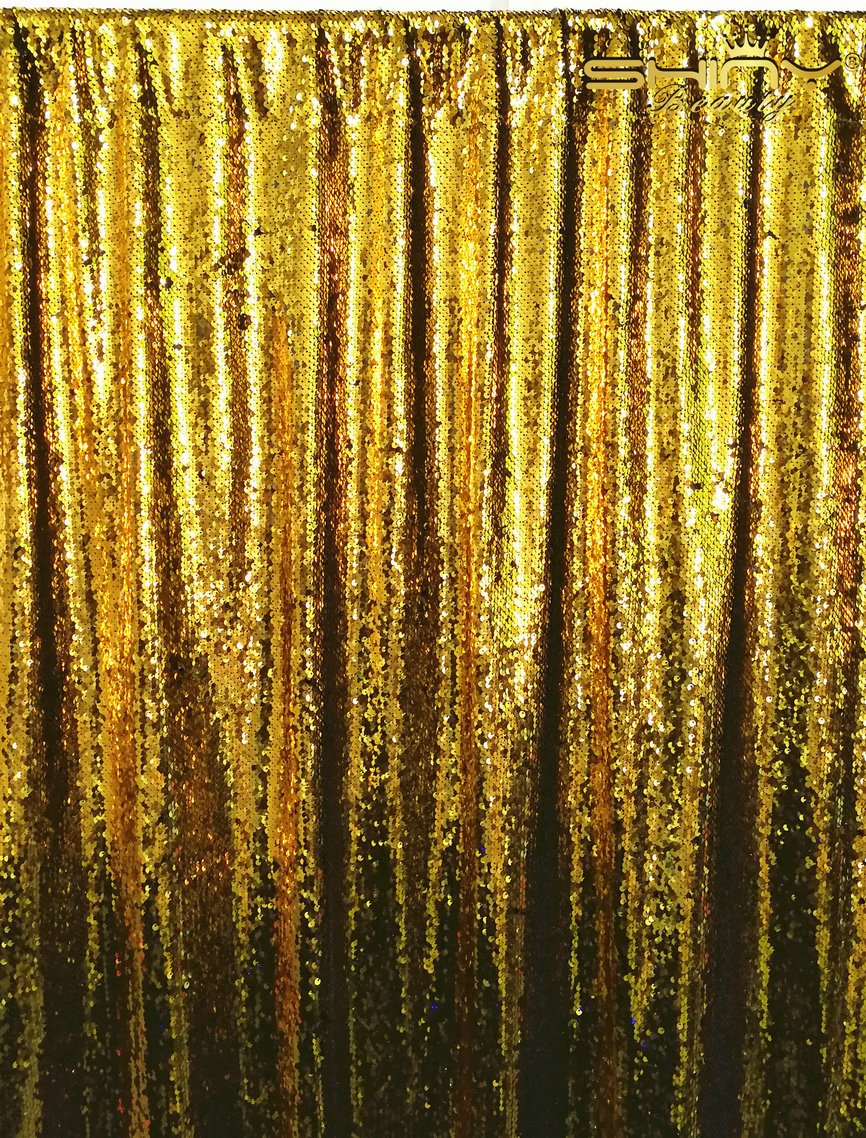 ShinyBeauty Mermaid-Sequin Curtain Backdrop-Gold&Black-10FTx10FT,Reversible Sequin Fabirc Photography Backdrops For Photo/Wedding/Party/Event/Prom/Birthday by ShinyBeauty