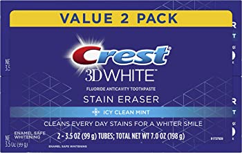 2-Count Crest 3D White Stain Eraser Whitening Toothpaste, Icy Clean Mint
